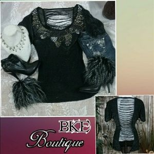 BKE Top Threaded Back Beads & Sequins